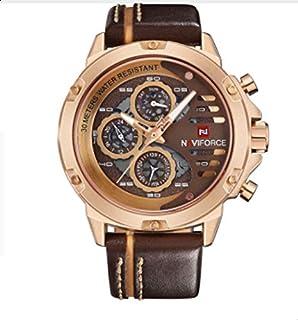 NAVIFORCE Luxury Brand Waterproof 24 Hour Date Quartz Watch Sports Leather Men's Waterproof Watch
