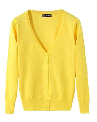 Classic Pink Donna Corta Cardigan Maniche Lunghe Scialle Slim Shawl Small Jacket Giallo L