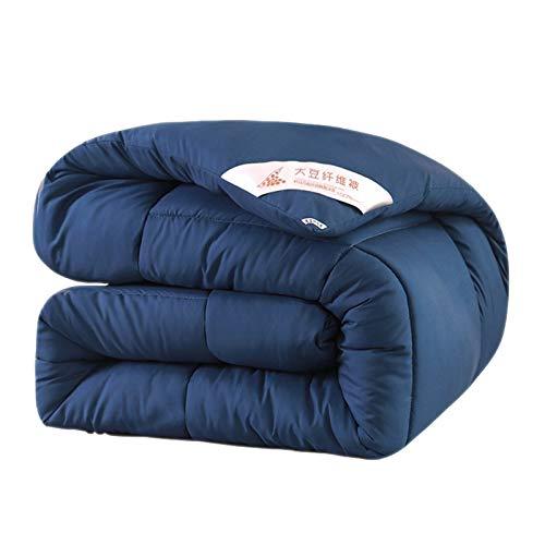 XDKS Winter Duvet, Simple Solid Color Thick Embroidery Washed Cotton Feather Velvet Quilt Winter Duvet Core (200×230(4kg),Jazz Blue)