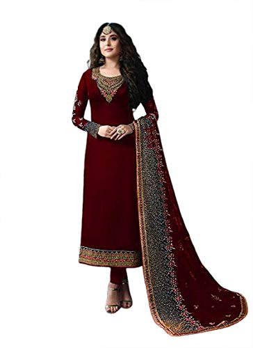 Miss Ethnik Women's Georgette Semi Stitched Top With Unstitched Santoon Bottom and Faux Georgette Dupatta Embroidered Straight Kurta Dress Material (Pakistani Salwar Suit) (SF-976)