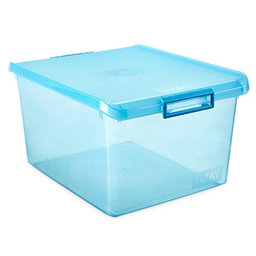 Tatay Caja de Almacenamiento Multiusos con Tapa 35 l de Capacidad plástico Polipropileno Libre de bpa, Turquesa Translúcido, 37.7 x 47.5 x 26 cm