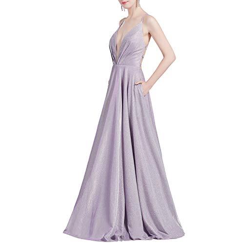 MACloth Women Lavender V Plunging Long Glitter-Knit Prom...