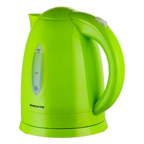 Ovente Electric Kettle 1.7 Liter Hot Water Boiler LED Light, 1100 Watt BPA-Free Portable Tea Maker Fast Heating Element with Auto Shut-Off and Boil Dry Protection, Brew Coffee & Beverage, Green KP72G