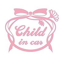 imoninn CHILD in car ステッカー 【シンプル版】 No.29 お花リボン (ピンク色)