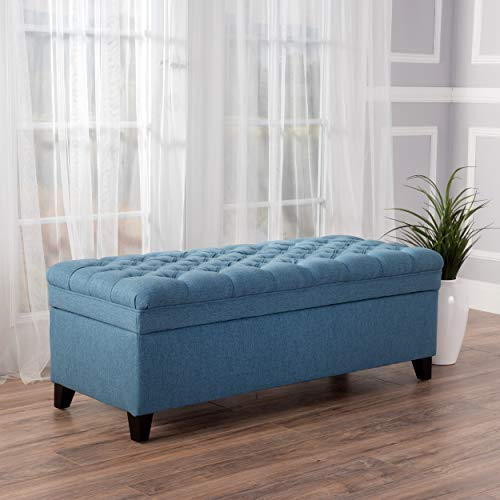GDF Studio Laguna Tufted Fabric Rectangular Storage Ottoman, Modern Bench for Home Organization, Blue