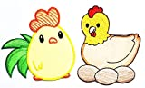Umama Patch Set of 2 Egg Farm Chicken Chick Hen Pineapple Fruit Cartoon Kids Patch Chicken Motif Sew Iron on Patch for Kids Clothing School Bag Jackets Jeans Backpacks Hats