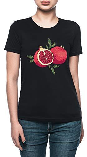Vendax Succoso Melograno Frutta T-Shirt Donna Nero