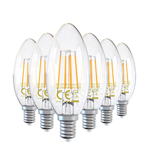 DGE 6X 4W Bombillas Vintage Vela Filamento LED E14 C35, Equivalente a 40W, 470Lm 2700K Bomilla LED, C35 Bombilla Vela Decorativa, 360° Ángulo Haz, No Regulable[Clase de Eficiencia Energética A++]