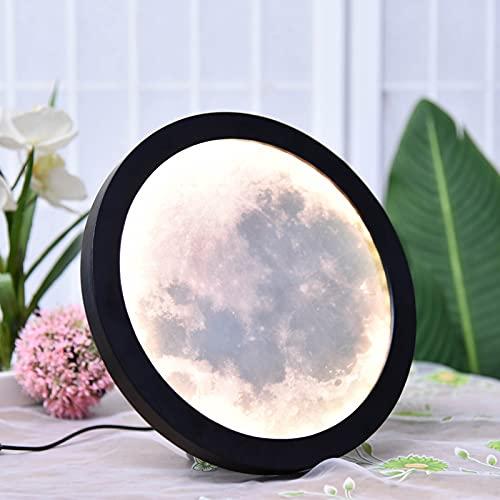 Lixada Home Moon Mirror Makeup Mirror Wood Frame Brightness Adjustable USB Power Supply Home Decor