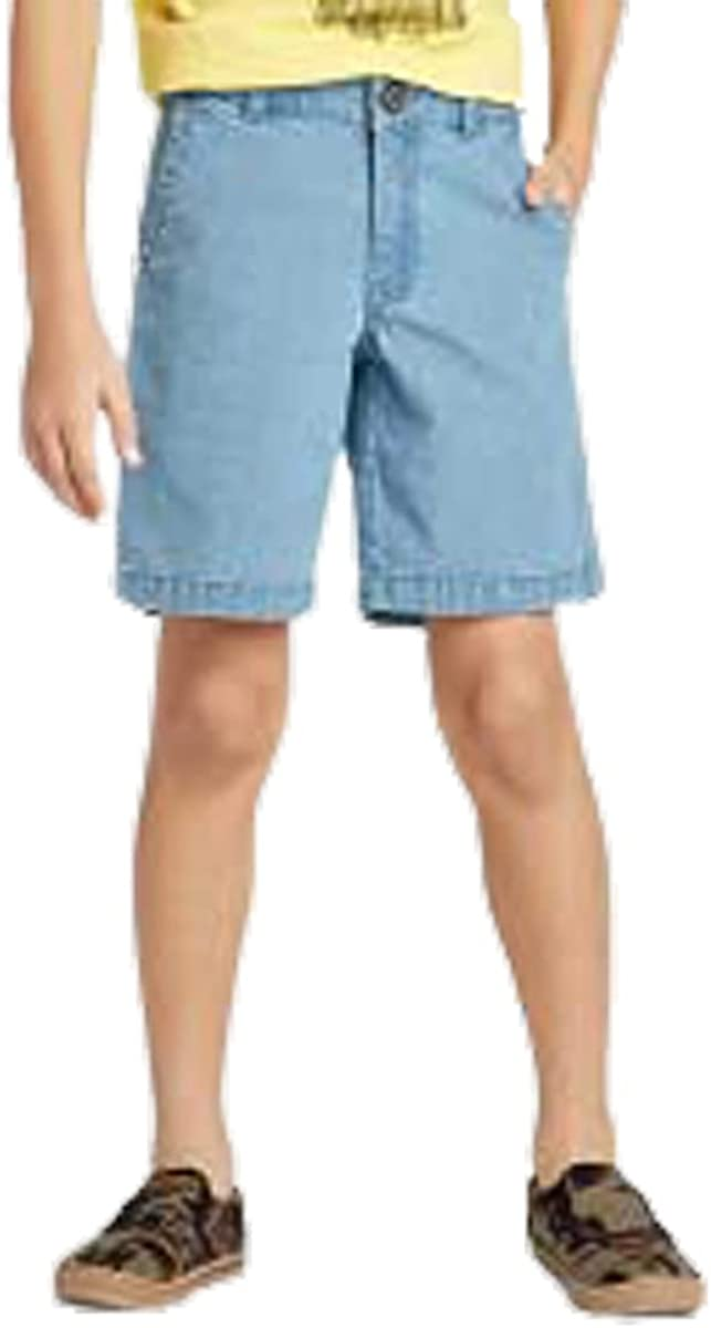 Cat & Jack Boy's Distressed Blue Stretch Flat Front Chino Shorts - Adjustable Waist