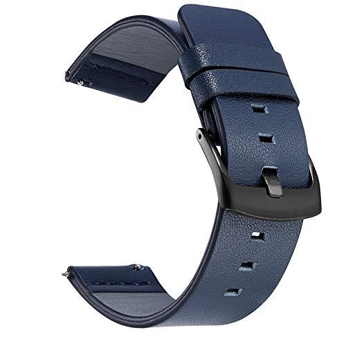 20mm 22mm Reloj de Reloj de Reloj de Lanzamiento rápido Correa de Cuero Compatible con Samsung Galaxy Watch 3 Active2 40 44mm Huawei Watch GT 2 WatchBand 18 24mm Cierre de reemplazo