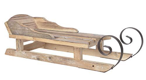 ETC dekorativer ausgefallener Deko-Schlitten Santaschlitten aus gebranntem Holz in 2 möglichen Größen (groß ca. 20 x 17,5 x 52 cm lang)
