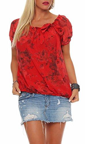 Malito Damen Blusenshirt mit Blumen Print | Oberteil mit Schleife | Hemdbluse - Tunika - modern 3443 (rot)