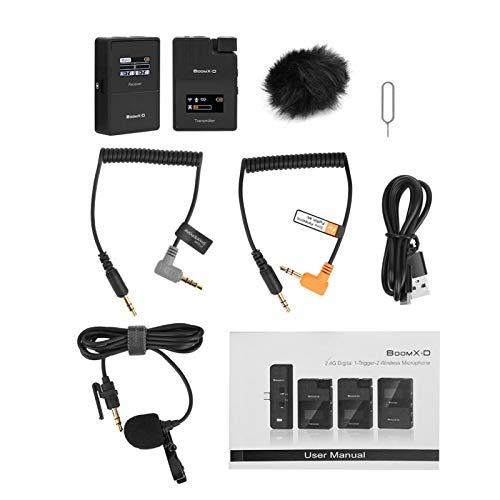 FOLOSAFENAR Micrófono inalámbrico 2.4G Mic inalámbrico Digital Salto de frecuencia automático 2400~2483.5MHz Cable de conexión de Audio de amortiguación ForTRS