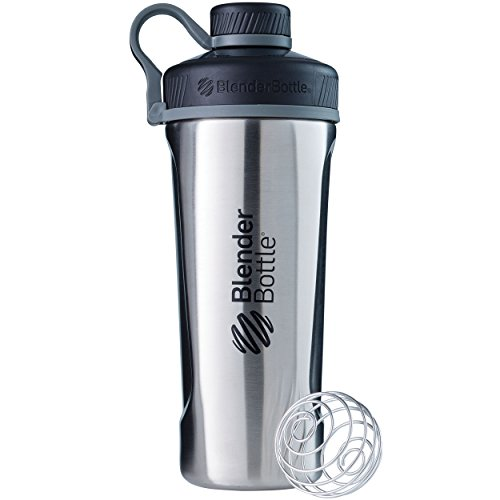 BlenderBottle Radian Shaker Cup Insulated Stainless Steel Water Bottle with Wire Whisk, 26-Ounce, Natural/Black