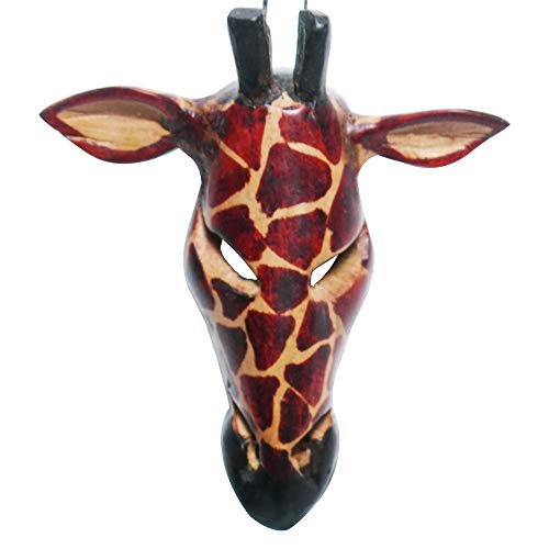 Stoneage Arts African Masks Wall Hanging Art Animal Hand Carving Safari Décor Wall Head Sculpture Decorative Wild Giraffe Zebra Faces and Listening Ears for A Majestic Display (4 Inch, GiraffeER)