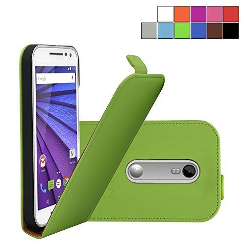 COOVY® Cover für Motorola Moto G (3. Generation Model 2015) Slim Flip Hülle Tasche Etui inklusive gratis Bildschirmschutzfolie | Farbe grün