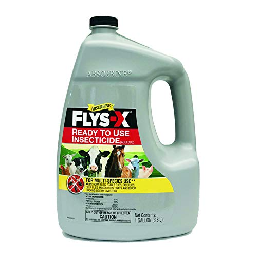 Absorbine Flys-X Ready to Use Water-Based Insecticide for Livestock, Horses, Dogs, Kills & Repels Flies, Mosquitoes, Gnats, Lice, 128oz Gallon Refill