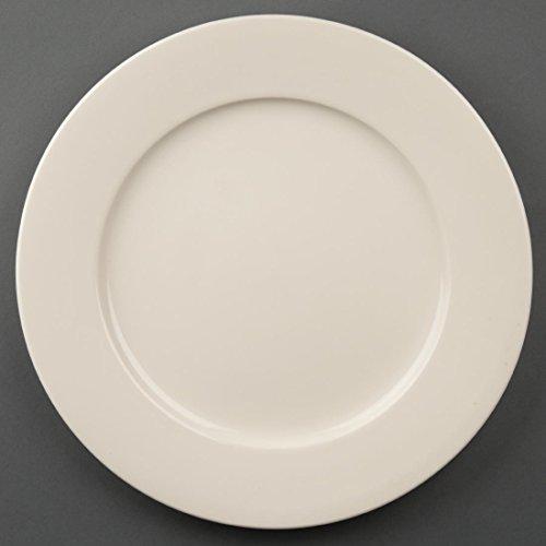 Olympia Lot de 6 assiettes en porcelaine à bords larges 280 mm Ivoire