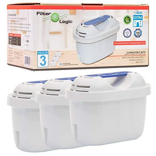 Filterlogic FL402E | Paquete de 3 - Cartucho filtrante Compatible con Brita Maxtra+ Plus Filtro Agua para Jarra de Agua Brita Fill&Enjoy Marella Style Flow Elemaris Fun - Tassimo Cafeteras