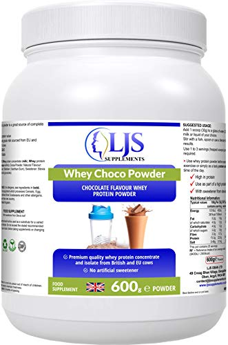 LJS Supplements Whey Choco Powder - Premium Quality Protein Powder - for Bodybuilders - Athletes - Tissue Repair - Maintain Lean Mass - Increased Protein Intake - Made in UK.