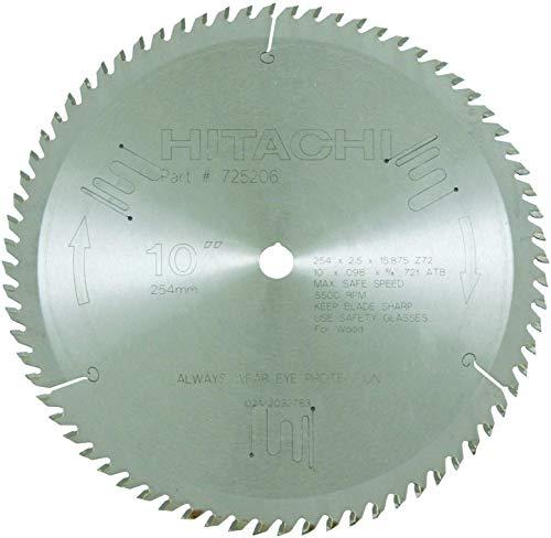 Metabo HPT 725206M 72-Teeth Tungsten Carbide Tipped 10' ATB 5/8' Arbor Finish Miter Saw Blade
