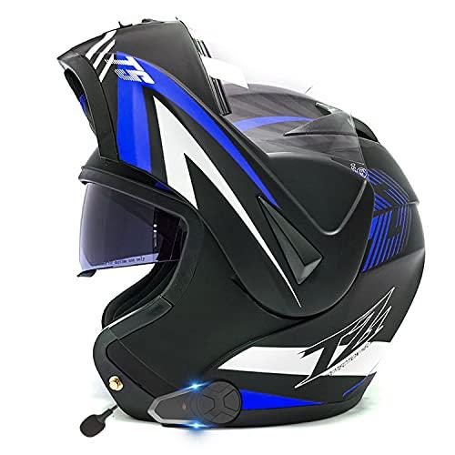 Casco De Moto Modular Bluetooth ECE Homologado Integrado Casco de Moto con un Micrófono Incorporado Anti Niebla Visera Doble ECE/Dot Homologado Adultos Hombres Mujeres Cascos Moto(Color:A,Size:S-55-