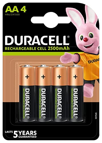 Duracell Rechargeable AA 2500 mAh Batteries Ideal for Xbox Controller, Pack...