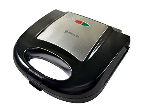 Msonic Tostapane Sandwich Maker 750W con Rivestimento in Teflon, Facile da Pulire, Acciaio Inossidabile, Nero, 22x 21x 8cm