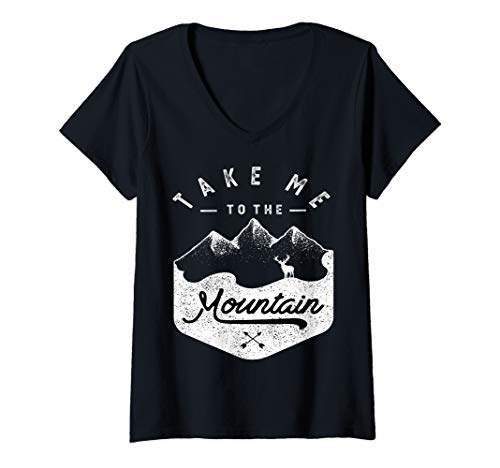 Womens Take me to the Mountain Hiking camping outdoor funny V-Neck T-Shirt