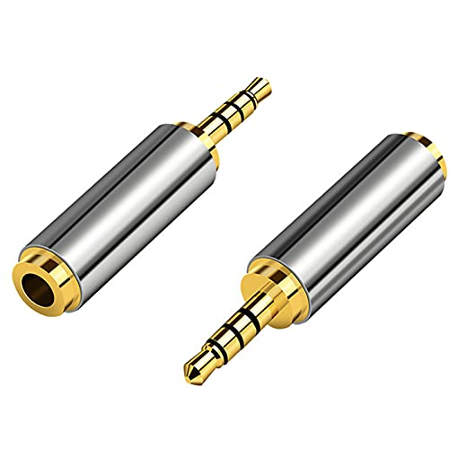 Aigital (2 Pack) Gold Plated 2.5mm Male to 3.5mm Female Stereo Audio Headphone Adapter Converter Jack Aux Plug For Smartphones, Tablets, Speakers, Microphone & Card Readers by