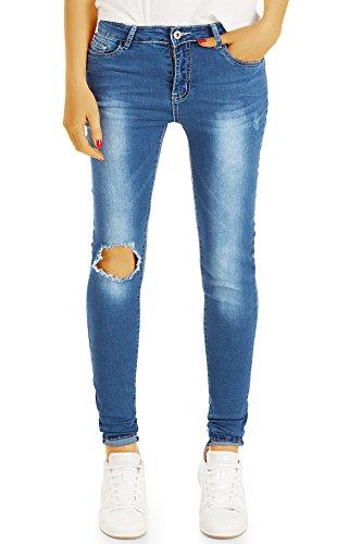 bestyledberlin Enge Damen Röhrenjeans, Ripped Knee SkinnyJeans, Aufgerissene Super Slim Fit Jeans j60i 36/S
