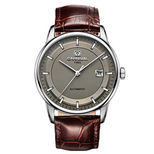 CARNIVAL Relojes para Hombre, Moda Automatico Relojes de Pulsera Impermeable Elegante Sencillo Multifuncional Reloj Mecanico 5668G (Color : Strip Scale - Gray 2)