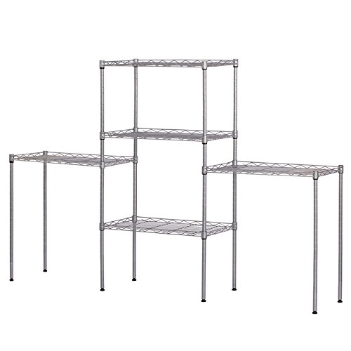 5-Tier Storage Rack Standing Shelf Wire Shelving Metal Storage Shelves Heavy Duty Adjustable Carbon Steel Shelf Standing for Closet Kitchen Laundry Garage Organization 21.25