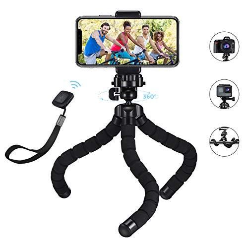 Monkeystick, Mpow Mini Handy Stativ Reisestativ Dreibeinstativ, flexibel Smartphone Stativ mit Bluetooth Fernsteuerung für iPhone 11/XR/X/ 8/P30 pro/Galaxy S20/S10/S9 usw. Stativ für Kamera und Gopro