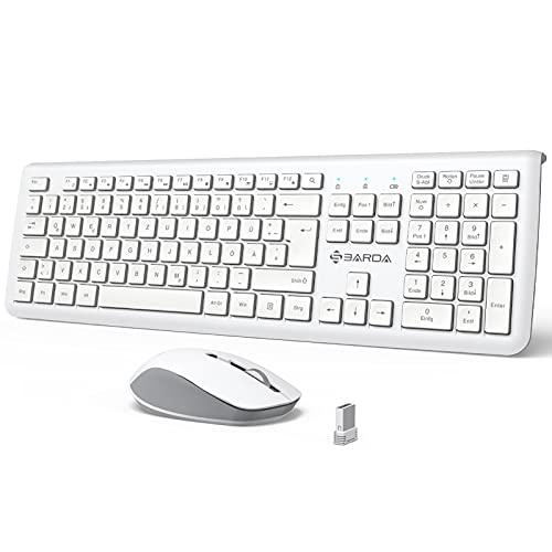 Combinación de teclado y ratón inalámbrico, 2,4 G, disposición DE, teclado grande de tamaño completo con numérica para ordenador/escritorio/portátil/Smart TV (blanco)