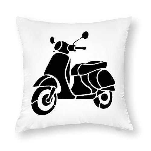 1 paquete de fundas de almohada de algodón de 18 x 18 pulgadas de Vespa Scooter Silhouette Transporte de vehículo para decoración del nuevo hogar recámara, perfecto regalo personalizado para marido, papá, mamá, abuelo y abuela