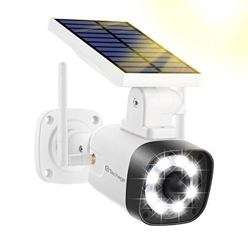 Techageセンサーライト、屋外、ソーラーライト、モーションセンサーライト、セキュリティカメラタイプ、IP66防水、防塵、省エネ、ソーラー充電、配線または電源なし、ダミーカメラ、8 LED、自動ナイトライト、モーション検出、360°角度 調整可能、停電、