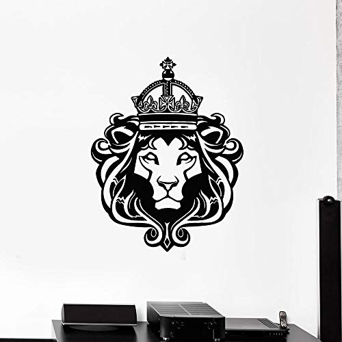 HGFDHG Etiqueta de la Pared del Rey León Corona Animal Salvaje Cabeza de Gato Estilo Fresco Dormitorio Adolescente Hombre Agujero decoración del hogar Vinilo Ventana Pegatina Mural