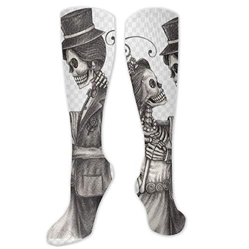 Kniestrümpfe aus Polyester & Baumwolle, Retro-Stil, Unisex, für Cosplay, Stiefel, lange Socken für Sport, Fitnessstudio, Yoga, Totenkopf, Skelett, Hochzeit, Hochzeit