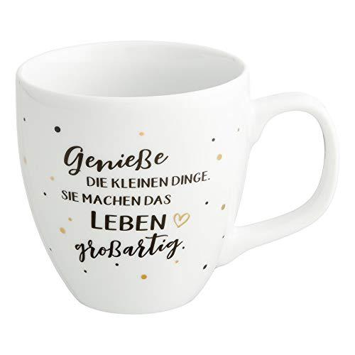 Him & I® - Jumbo Tasse mit Spruch Genieße die kleinen Dinge. Sie machen das Leben großartig - 9,5 cm - 0,45 l - Porzellan Tasse - Kaffeetasse - Kaffeebecher - Geschenk für Freundin, Mama & Kollegin