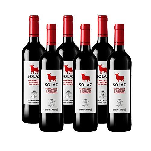 Vino tinto Solaz Tempranillo Cabernet Sauvignon de 75 cl - D.O. Tierra de Castilla - Bodegas Osborne (Pack de 6 botellas)