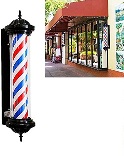 Luz de Poste de barbero LED Barbería al Aire Libre Peluquería Señal de peluquería Rojo Blanco Rayas Azules Lámpara Retro de Pared Impermeable 70 cm / 28 Pulgadas A/A