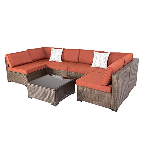 Kinsunny 7 PCs Outdoor Sectional Sofa Patio Furniture Sets All-Weather Wicker Rattan Conversation Chair Set with Glass Coffee Table, Dark Blonde Wicker