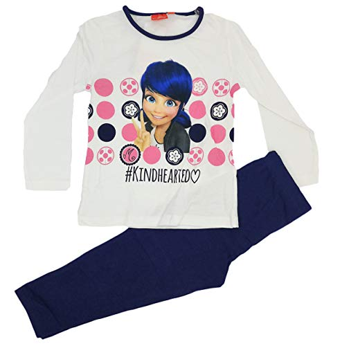 Lady Bug Pijama Infantil niñas 2 Piezas 100% algodón (4 años, Blanco)