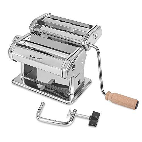 Navaris Macchina per la Pasta Fresca Manuale - Tirapasta Sfogliatrice per Spaghetti Lasagne Tagliatelle - Rullo Regolabile 9 Spessori - Manico Legno