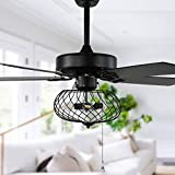 42' Modern Industrial Ceiling Fan with Lights and Remote Control, Fandelier Ceiling Fan With Lights Reversible Blades, 3 Speed, Black