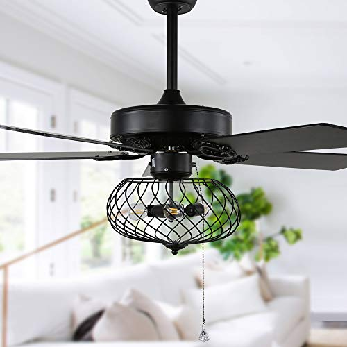 """42"""" Modern Industrial Ceiling Fan with Lights and Remote Control, Fandelier Ceiling Fan With Lights Reversible Blades, 3 Speed, Black"""