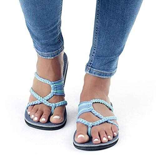 AARDIMI Sandalen Damen Frauen Flip Flops Kreuzband Geflochtene Sandalen Roman Schuhe Sommer Woven Strap Mode Strand Hausschuhe Flacher Anti Rutsch (36 EU, Blau 2)