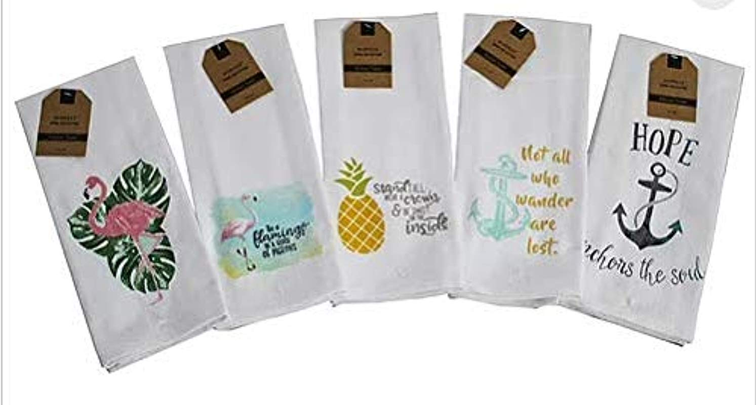 Kitchen Towels Set Of 5 Summer Nautical Designs 16 X 28 100 Cotton Seahorse Pineapple Anchor Flamingo